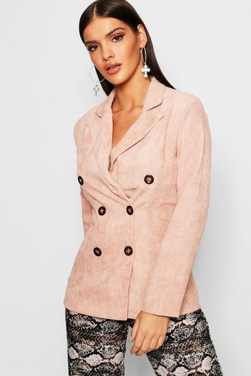 Blush pink Double Breasted Cord Blazer