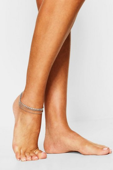 Silver Diamante Double Line Chain Anklet