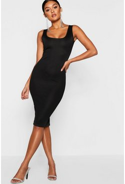 Black Longline Square Neck Midi Dress