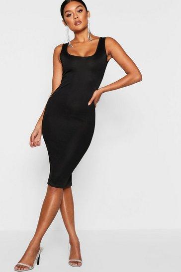 Black Longline Square Neck Midi Dress