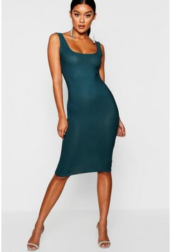Emerald green Longline Square Neck Midi Dress