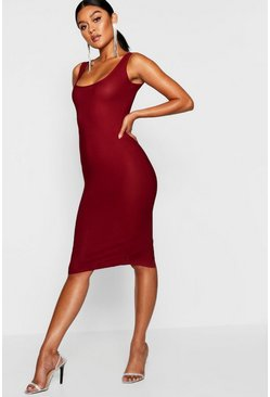 Wine red Longline Square Neck Midi Dress