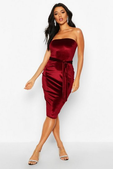 Berry red Velvet Bandeau Belted Midi Dress