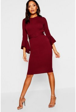Berry red Flared Sleeve Belted Midi Dress