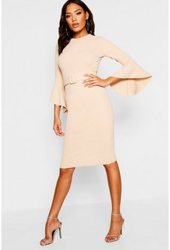 Stone beige Flared Sleeve Belted Midi Dress