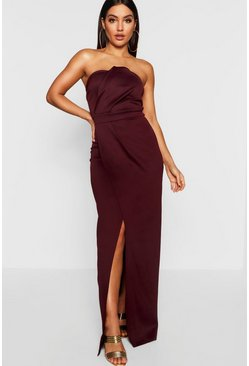 Berry red Bandeau Wrap Detail Split Maxi Bridesmaid Dress