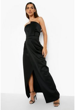 Black Bandeau Wrap Detail Split Maxi Bridesmaid Dress