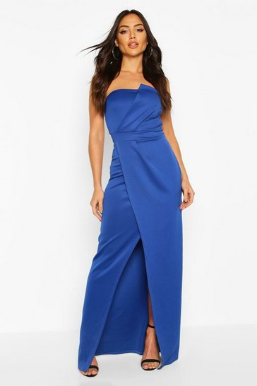 Cobalt blue Bandeau Wrap Detail Split Maxi Bridesmaid Dress