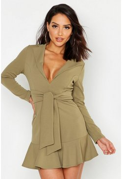 Sage green Bodycon Blazer Frill Hem Dress