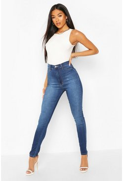 Mid blue blue Super High Waist Power Stretch Skinny Jeans