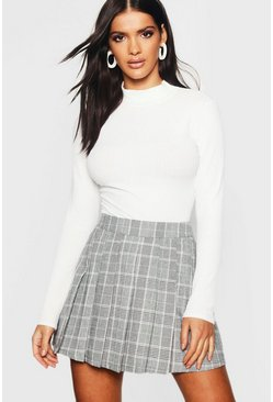 Charcoal grey Woven Check Pleated Tennis Skirt