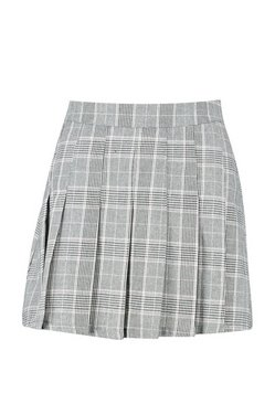 Charcoal Woven Check Pleated Tennis Skirt