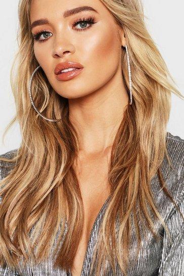 Silver 10cm Diamante Embellished Hoop Earrings