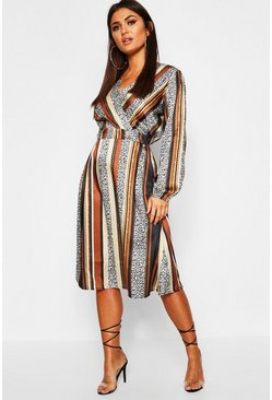 Black Leopard Stripe Button Front Midi Dress