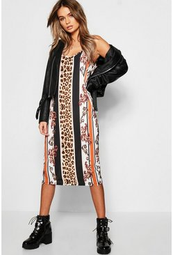 Leopard Stripe Midi Cami Dress, Black Чёрный