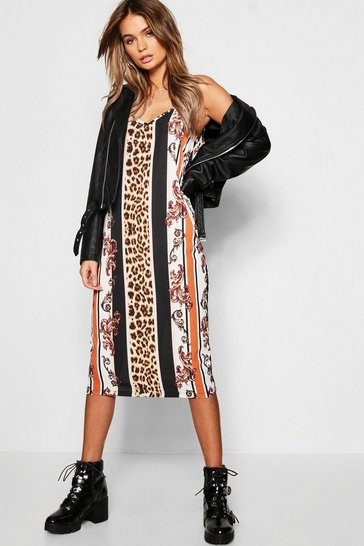 Black Leopard Stripe Midi Cami Dress