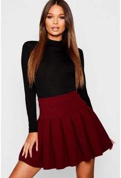 Berry red Pleated Tennis Skirt