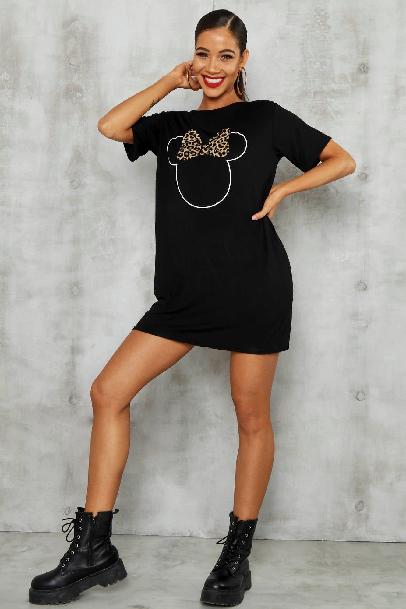 T-shirt Dresses Disney Minnie Leopard Bow Tshirt Dress