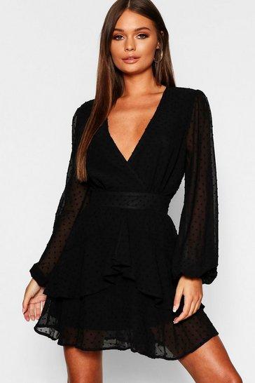 Black Ruffle Hem Dobby Chiffon Mini Dress