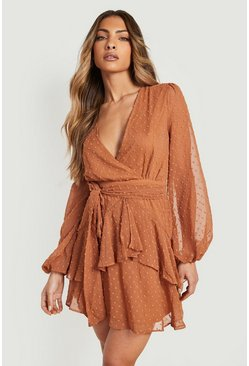 Caramel Ruffle Hem Dobby Chiffon Mini Dress