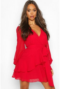 Red Ruffle Hem Dobby Chiffon Mini Dress