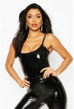 Black High Shine Leather Look Strappy Bodysuit
