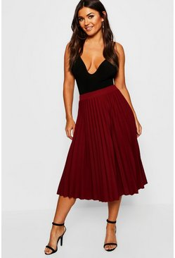 Berry Pleated Midi Skirt