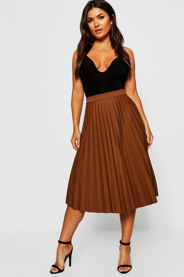 Camel beige Pleated Midi Skirt