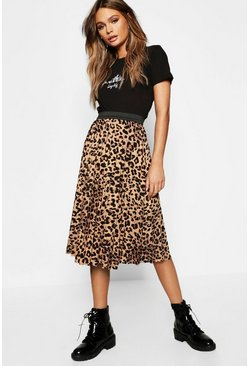 Leopard Print Pleated Midi Skirt, Brown Коричневый