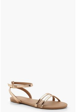 Rose gold 2 Part Basic Flat Sandals