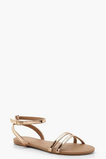 Rose gold metallic 2 Part Basic Flat Sandals