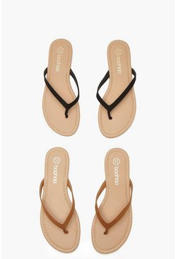 Black svart Basic flip flops (2-pack)