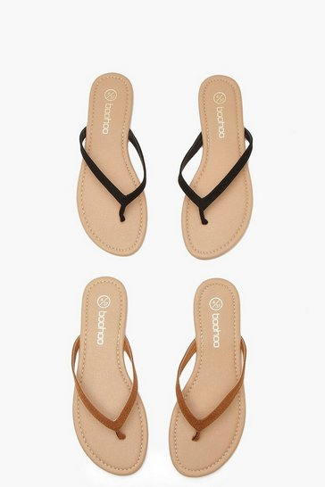 Black 2 Pack Basic Flip Flops