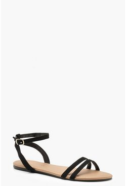 Black 2 Part Basic Flat Sandals