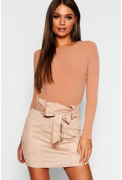 Stone beige Paperbag Belted Suedette Micro Mini Skirt