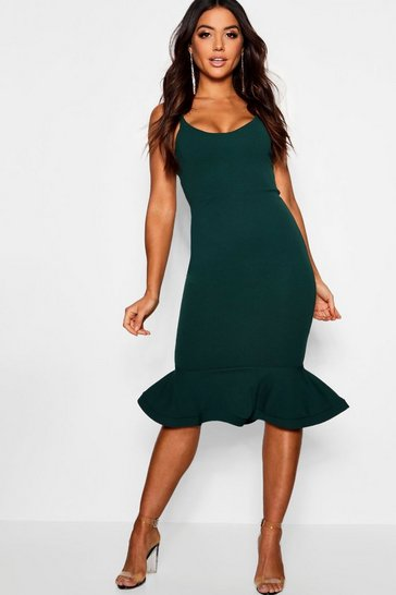 Bottle green green Peplum Frill Hem Strappy Midi Dress