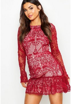 Berry red Corded Lace Frill Hem Mini Dress