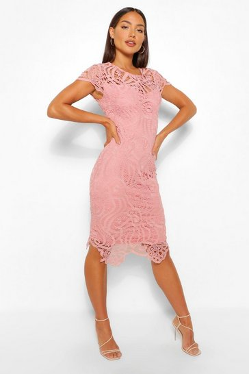 Blush pink Lace Cap Sleeve Midi Dress