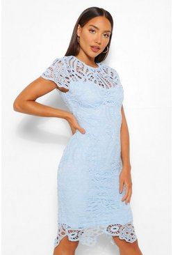 Powder blue blue Lace Cap Sleeve Midi Dress