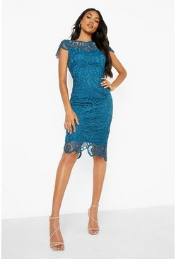 Teal green Lace Cap Sleeve Midi Dress