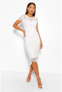 White Lace Cap Sleeve Midi Dress