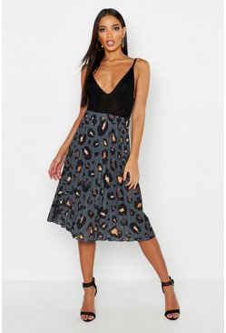 Charcoal grey Pleated Leopard Print Midi Skirt