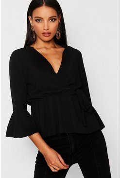 Black Wrap Over Tie Blouse