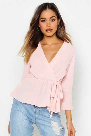 Blush pink Nude Wrap Over Tie Blouse