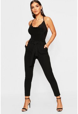 Black Paperbag Waist Pants