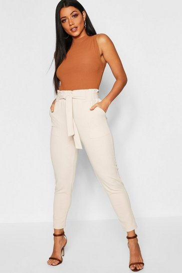 Ecru white Paperbag Waist Trouser