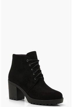 Black Lace Up Chunky Heel Hiker Boots