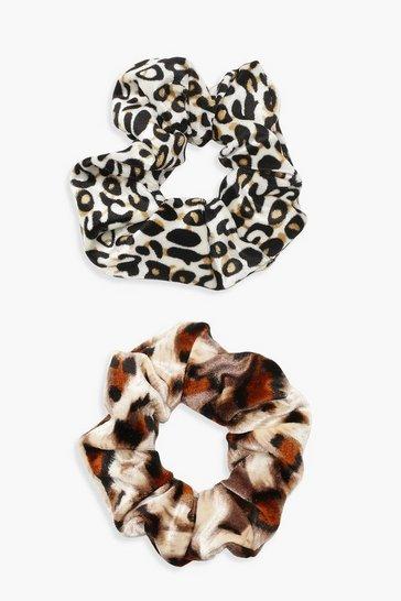Multi Mixed Animal Print 2 Pack Scrunchie