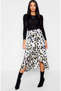Grey Leopard Print Satin Wrap Midaxi Skirt