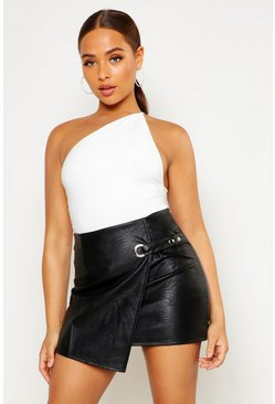 Black Wrap Front Detail Faux Leather Mini Skirt